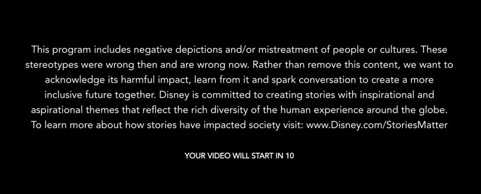 В Disney+ появился новый дисклеймер перед классическими мультфильмами 1
