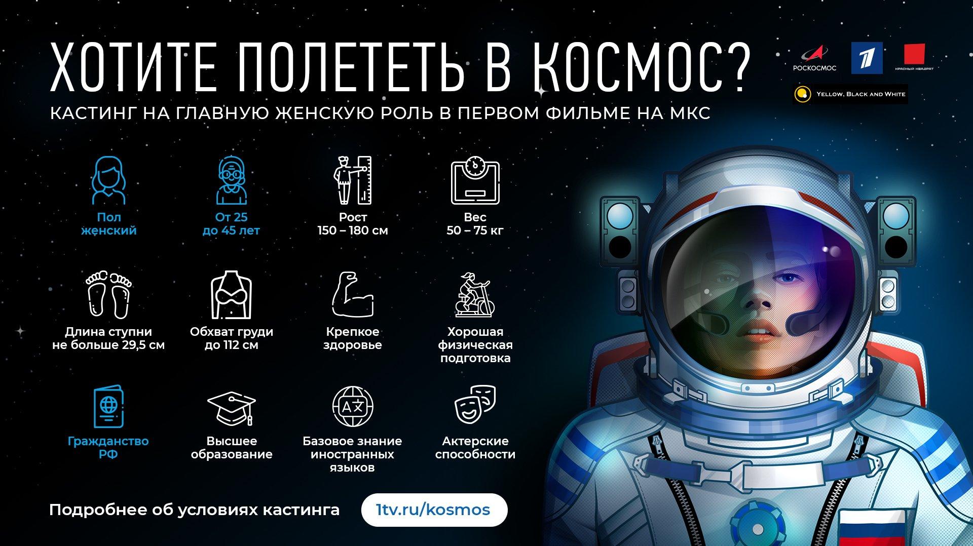 «Первый канал»опубликовал требования кандидаток длясъёмок фильма вкосмосе 1