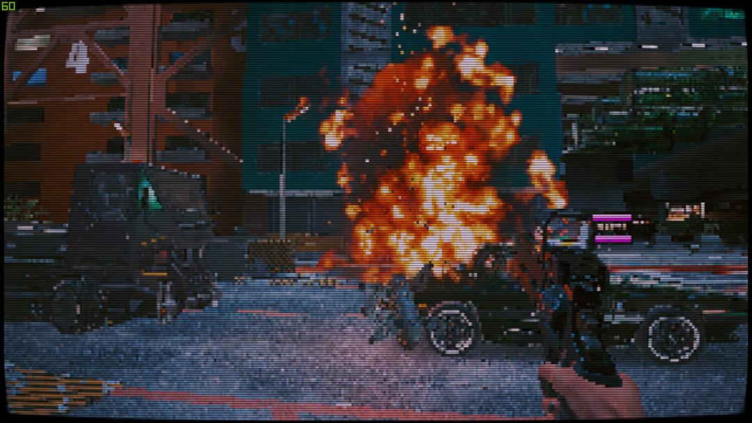 На Cyberpunk 2077 наложили пиксельный фильтр. Теперь игра похожа на классический DOOM
