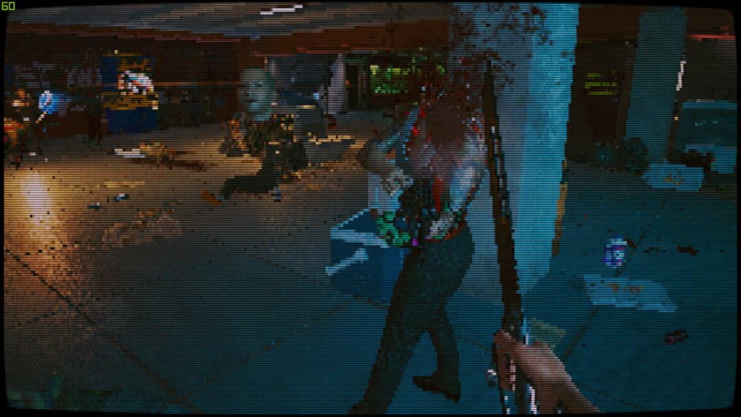 На Cyberpunk 2077 наложили пиксельный фильтр. Теперь игра похожа на классический DOOM 1