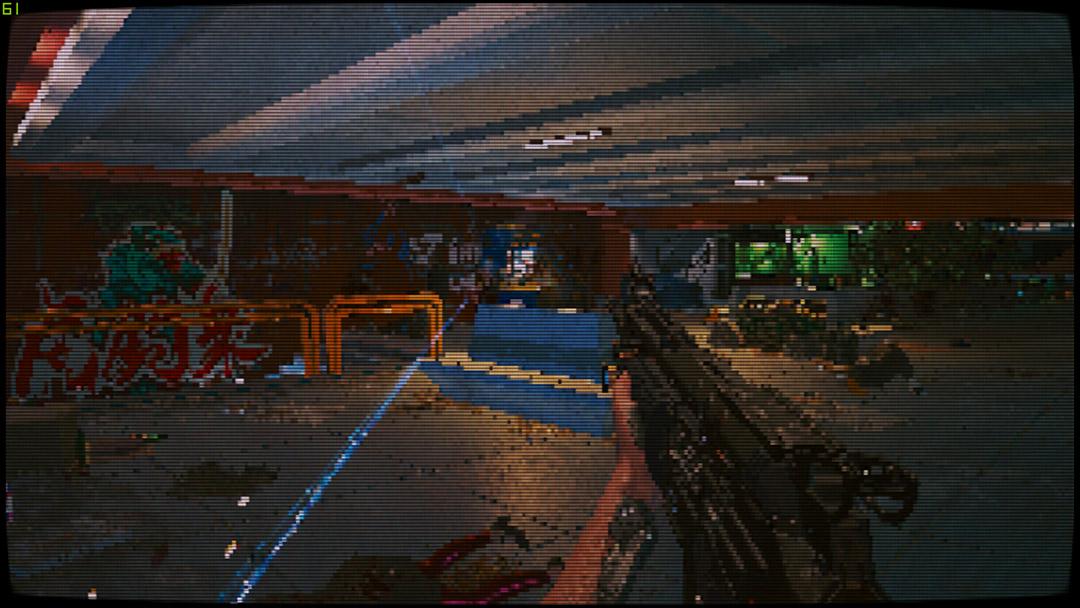 На Cyberpunk 2077 наложили пиксельный фильтр. Теперь игра похожа на классический DOOM 2